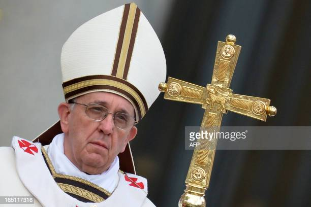 Pope Francis celebrates the Easter mass on March 31 2013 at the Vatican Pope Francis prepared to lead his first Easter Sunday celebrations with tens...