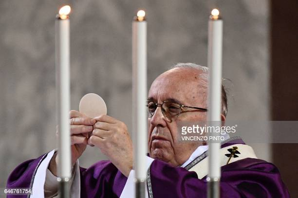 Pope Francis celebrates the Eucharist during the Ash Wednesday mass opening Lent the fortyday period of abstinence and deprivation for Christians...