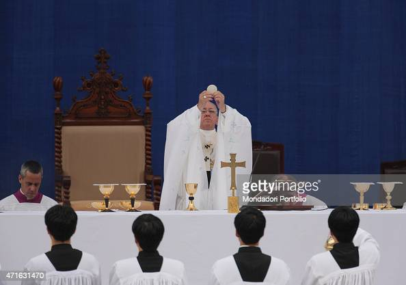 'Pope Francis celebrating the mass for the Solemnity of the Assumption of Mary at World Cup Stadium during the 6th Asian Youth Day Daejeon South...