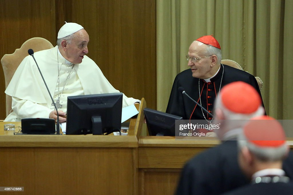 <a gi-track='captionPersonalityLinkClicked' href=/galleries/search?phrase=Pope+Francis&family=editorial&specificpeople=2499404 ng-click='$event.stopPropagation()'>Pope Francis</a> chats with Ungarian cardinal and archbisop of Budapest cardinal Peter Erdo (R) as he arrives at the Synod Hall for the Synod on the themes of family on October 6, 2014 in Vatican City, Vatican. <a gi-track='captionPersonalityLinkClicked' href=/galleries/search?phrase=Pope+Francis&family=editorial&specificpeople=2499404 ng-click='$event.stopPropagation()'>Pope Francis</a> addressed the Fathers of the Extraordinary Assembly of the Synod of Bishops on Monday, as they began their first full day of sessions exploring the pastoral challenges of the family in the context of evangelization.