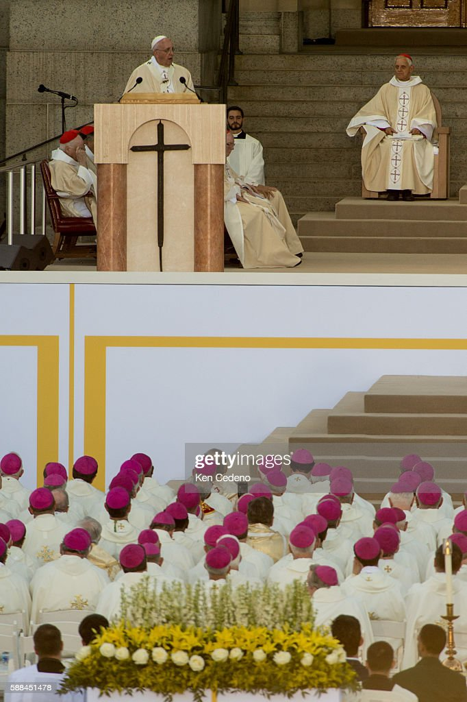 Pope Francis conducts mass and the Canonization of Blessed Junipero Serra at the Basilica of the National Shrine of the Immaculate Conception /The...