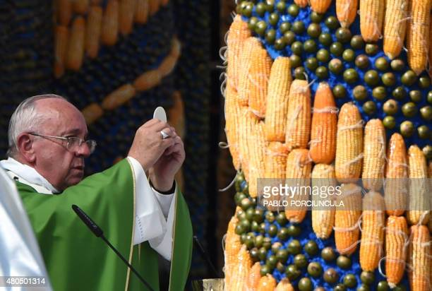 Pope Francis delivers a mass at Nu Guazu field in the outskirts of Asuncion Paraguay on July 12 2015 The Pope finishes Sunday his Latin American tour...