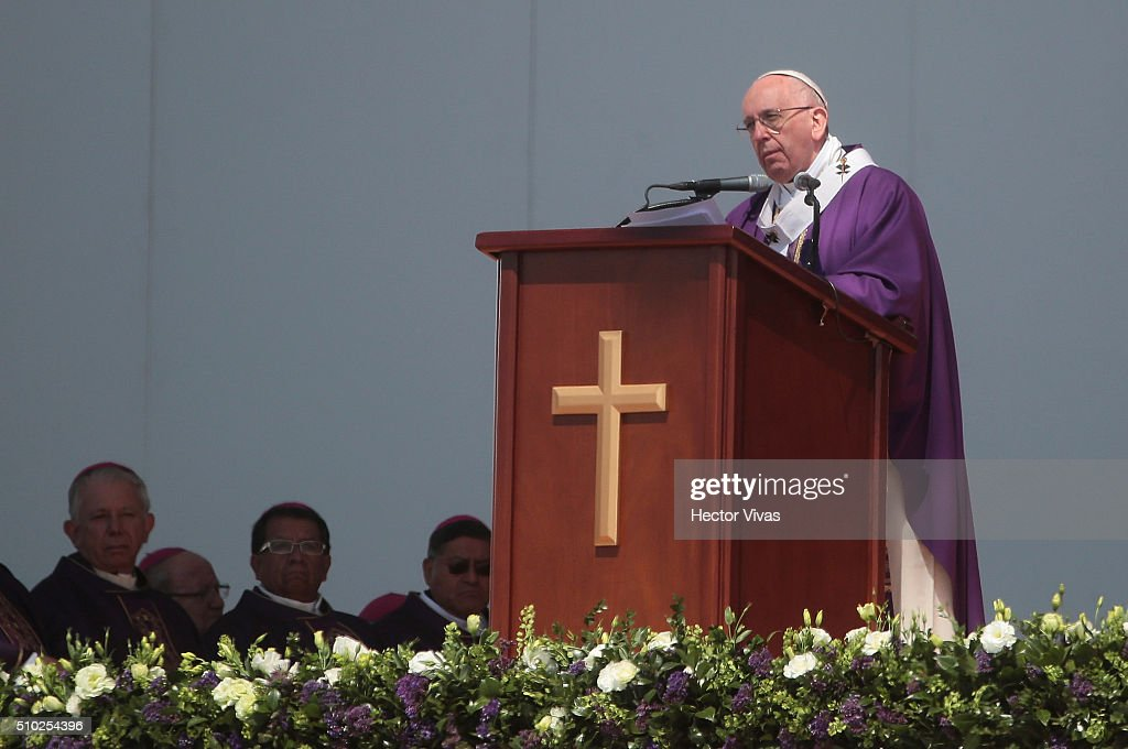 Pope Francis delivers a speech during a mass for the people at Ecatepec on February 14, 2016 in Ecatepec, Mexico. Pope Francis is on a five days visit in Mexico from February 12 to 17 where he is expected to visit five states.