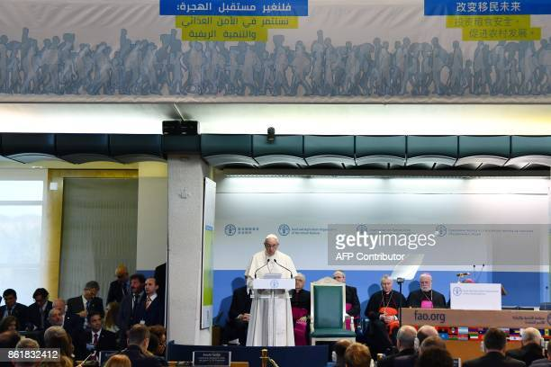 Pope Francis delivers a speech during a meeting at the Food and Agriculture Organization headquarters on October 16 2017 in Rome on the occasion of...