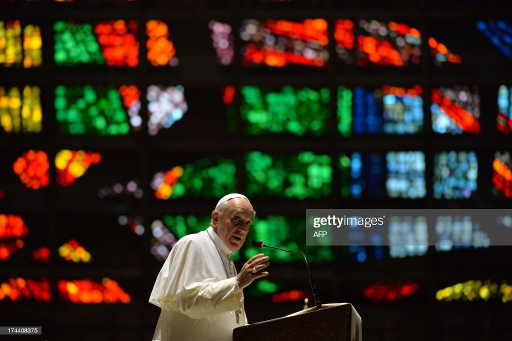 Pope Francis delivers a speech during a visit to the Cathedral of Rio de Janeiro, on July 25, 2013. Pope Francis urged young Brazilians not to despair in the battle against corruption Thursday as he addressed their country's political problems in the wake of massive protests. The first Latin American and Jesuit pontiff arrived in Brazil mainly for the huge five-day Catholic gathering World Youth Day.