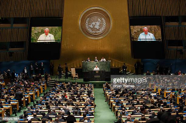 Pope Francis delivers an address to the General Assembly of the United Nations on September 25 2015 in New York City Pope Francis who arrived in New...
