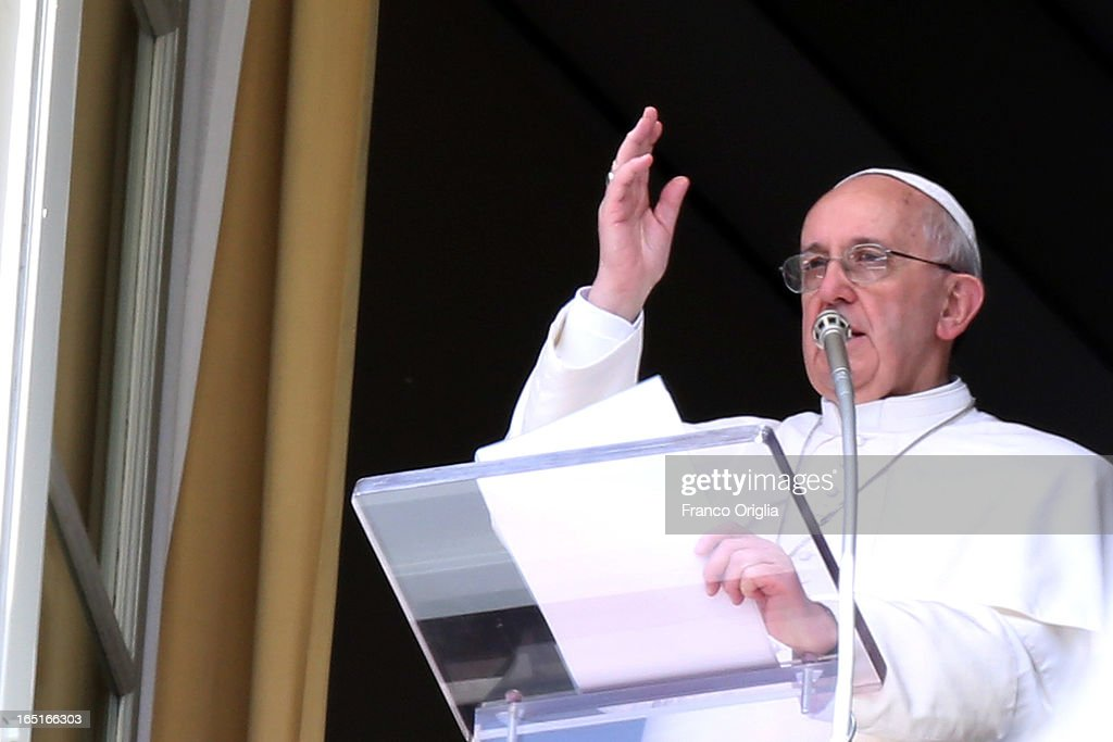 <a gi-track='captionPersonalityLinkClicked' href=/galleries/search?phrase=Pope+Francis&family=editorial&specificpeople=2499404 ng-click='$event.stopPropagation()'>Pope Francis</a> delivers his blessing from the window of his studio overlooking St. Peter's Square during the Regina Coeli Prayer on April 1, 2013 in Vatican City, Vatican.