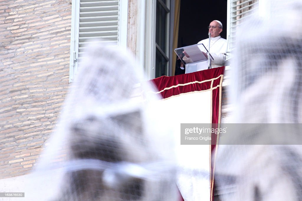 Pope Francis delivers his first Angelus Blessing to the faithful from the window of his private residence on March 17, 2013 in Vatican City, Vatican. The Vatican is preparing for the inauguration of Pope Francis on March 19, 2013 in St Peter's Square.