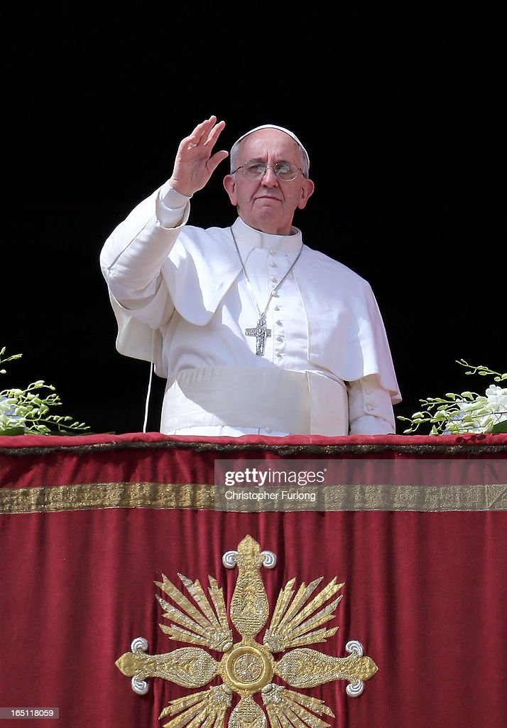 <a gi-track='captionPersonalityLinkClicked' href=/galleries/search?phrase=Pope+Francis&family=editorial&specificpeople=2499404 ng-click='$event.stopPropagation()'>Pope Francis</a> delivers his first 'Urbi et Orbi' blessing from the balcony of St. Peter's Basilica during Easter Mass on March 31, 2013 in Vatican City, Vatican. <a gi-track='captionPersonalityLinkClicked' href=/galleries/search?phrase=Pope+Francis&family=editorial&specificpeople=2499404 ng-click='$event.stopPropagation()'>Pope Francis</a> delivered his message to the gathered faithful from the central balcony of St. Peter's Basilica in St. Peter's Square after his first Holy week as Pontiff.