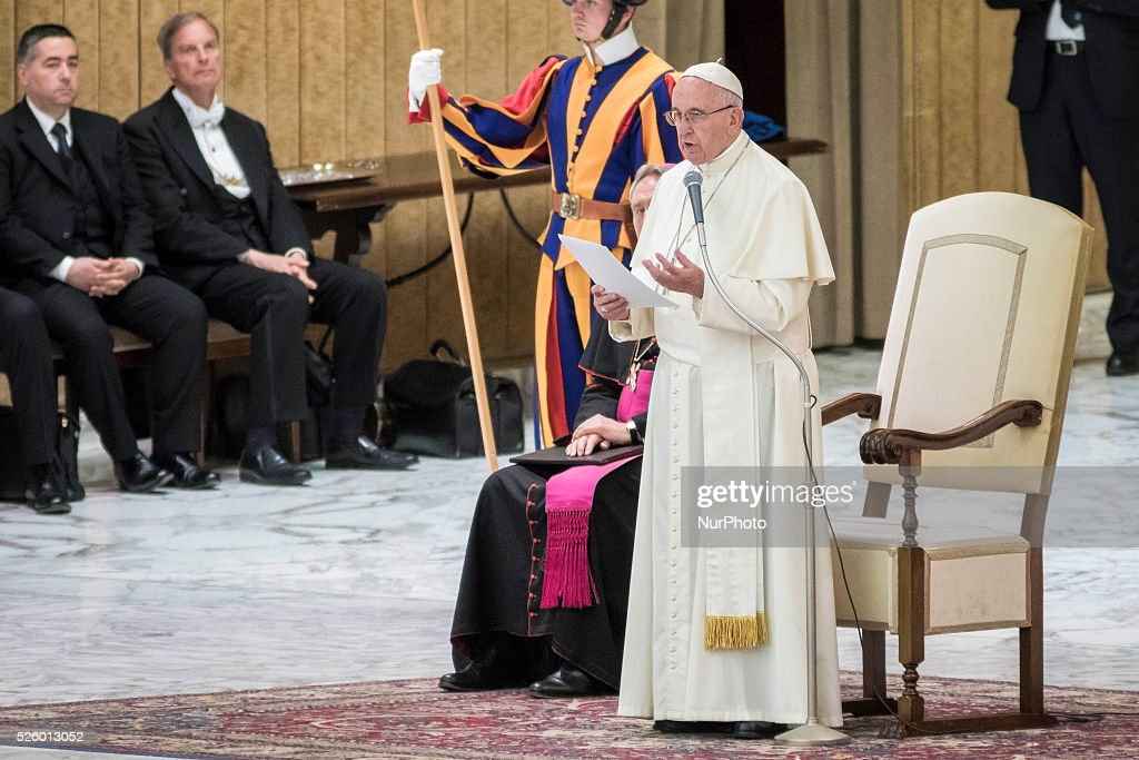 Pope Francis delivers his homily as he celebrates a special audience with participants at a congress on the progress of regenerative medicine and its cultural impact in the Paul VI hall in Vatican City, Vatican on April 29, 2016.