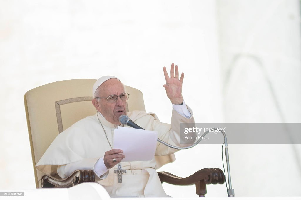 S SQUARE, VATICAN CITY, VATICAN - : Pope Francis delivers his homily as he celebrates his Weekly General Audience in St. Peter's Square. Pope Francis says God loves each and every one of us, He is totally extraneous to the throwaway culture of today and like the good shepherd he does not want a single person to be lost.