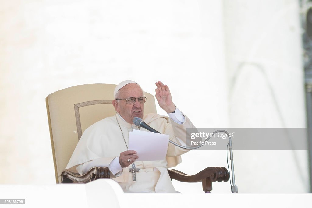 S SQUARE, VATICAN CITY, VATICAN - : Pope Francis delivers his homily as he celebrates his Weekly General Audience in St. Peter's Square in Vatican City, Vatican on May 04, 2016. Pope Francis says God loves each and every one of us, He is totally extraneous to the throwaway culture of today and like the good shepherd he does not want a single person to be lost.