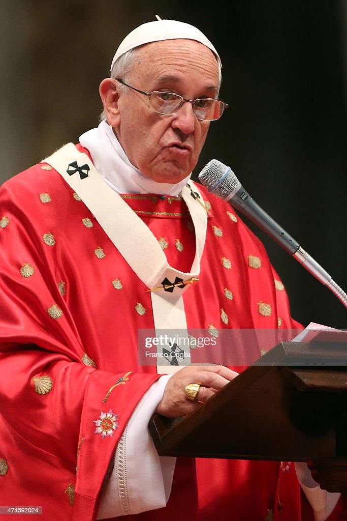 Pope Francis delivers his Homily during the Pentecost Celebration at the St. Peter's Basilica on May 24, 2015 in Vatican City, Vatican. Pope Francis presided over Mass in St Peter's Basilica this Pentecost Sunday saying that, the world needs men and women who are filled with the Holy Spirit. Pentecost, fifty days after Easter feast commemorates the descent of the Holy Spirit upon the Apostles.