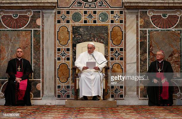 Pope Francis delivers his message during an audience with the diplomatic corps at the Vatican on March 22 2013 Pope Francis called for the Roman...
