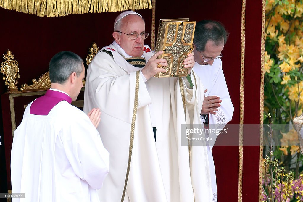Pope Francis delivers Mass prior to his first 'Urbi et Orbi' blessing from the balcony of St. Peter's Basilica during Easter Mass on March 31, 2013 in Vatican City, Vatican. Pope Francis delivered his message to the gathered faithful from the central balcony of St. Peter's Basilica in St. Peter's Square after his first Holy week as Pontiff.