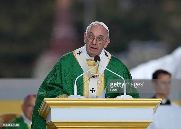 Pope Francis delivers the homily as he celebrates mass at the World Meeting of Families at Benjamin Franklin Parkway iSeptember 27 2015 n...