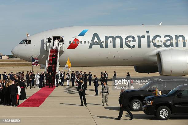 Pope Francis departs from Washington DC en route to New York City on September 24 2015 in Joint Base Andrews MarylandThe Pope is on a sixday trip to...