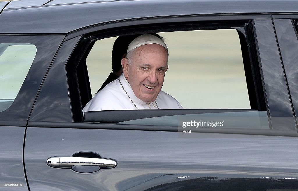 Pope Francis departs in a Fiat after arriving from Cuba September 22 2015 at Joint Base Andrews Maryland Francis will be visiting Washington New York...