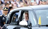 Pope Francis departs in a Fiat after arriving from Cuba to the United States September 22 2015 at Joint Base Andrews Maryland Francis will be...