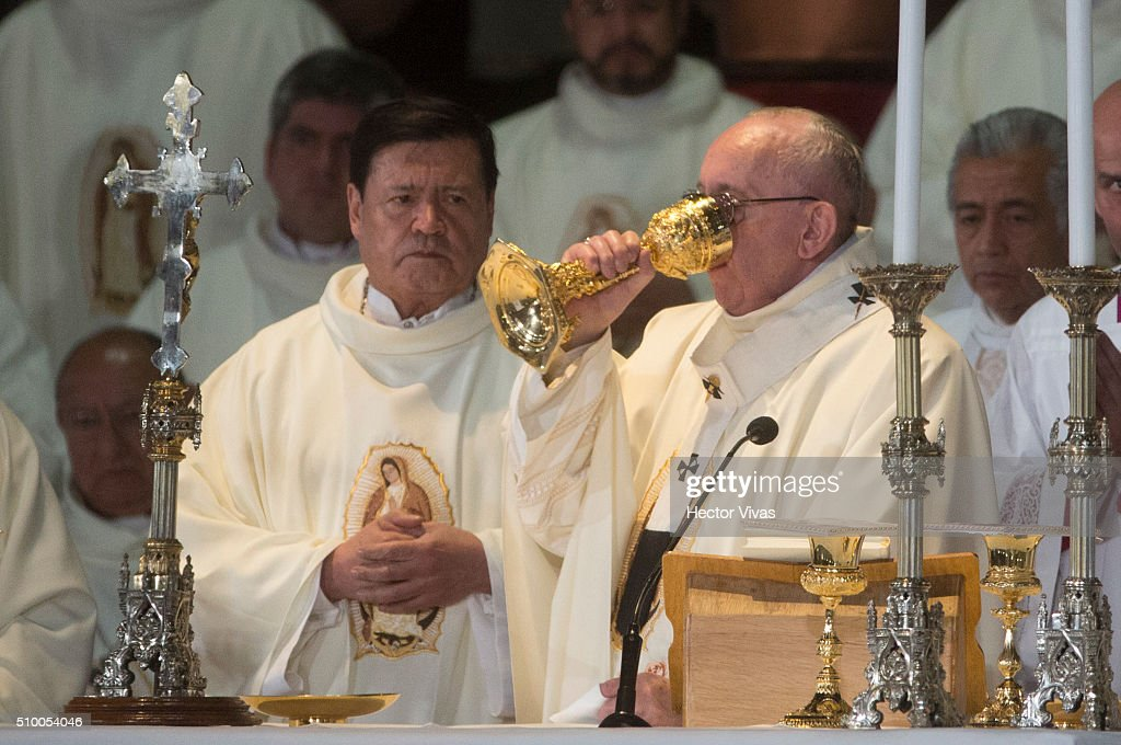<a gi-track='captionPersonalityLinkClicked' href=/galleries/search?phrase=Pope+Francis&family=editorial&specificpeople=2499404 ng-click='$event.stopPropagation()'>Pope Francis</a> drinks from the holy chalice during a mass for the people at Basilica de Guadalupe on February 13, 2016 in Mexico City, Mexico. <a gi-track='captionPersonalityLinkClicked' href=/galleries/search?phrase=Pope+Francis&family=editorial&specificpeople=2499404 ng-click='$event.stopPropagation()'>Pope Francis</a> is on a five days visit in Mexico from February 12 to 17 where he is expected to visit five states.