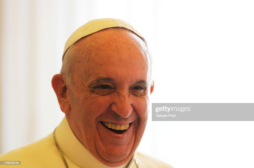 Pope Francis during a meeting with King Abdullah II of Jordan and Queen Rania at the his private library on August 29, 2013 in Vatican City, Vatican. The Pope was expected to talk about Jordan's sheltering of those fleeing the civil war in neighboring Syria.