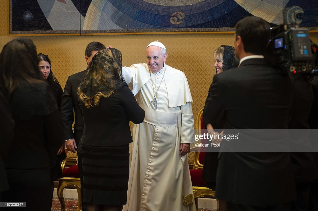 Pope Francis during a meeting with President of Paraguay Horacio Manuel Cartes Jara at the Paul VI Hall on April 29 2014 in Vatican City Vatican In...