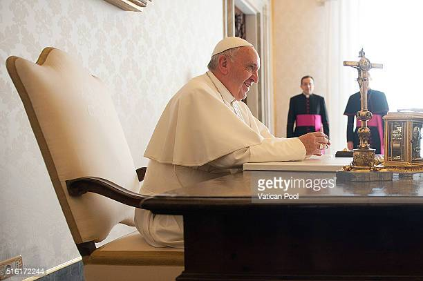 Pope Francis during a meeting with President of Portugal Marcelo Rebelo de Sousa at the Apostolic Palace on March 17 2016 in Vatican City Vatican