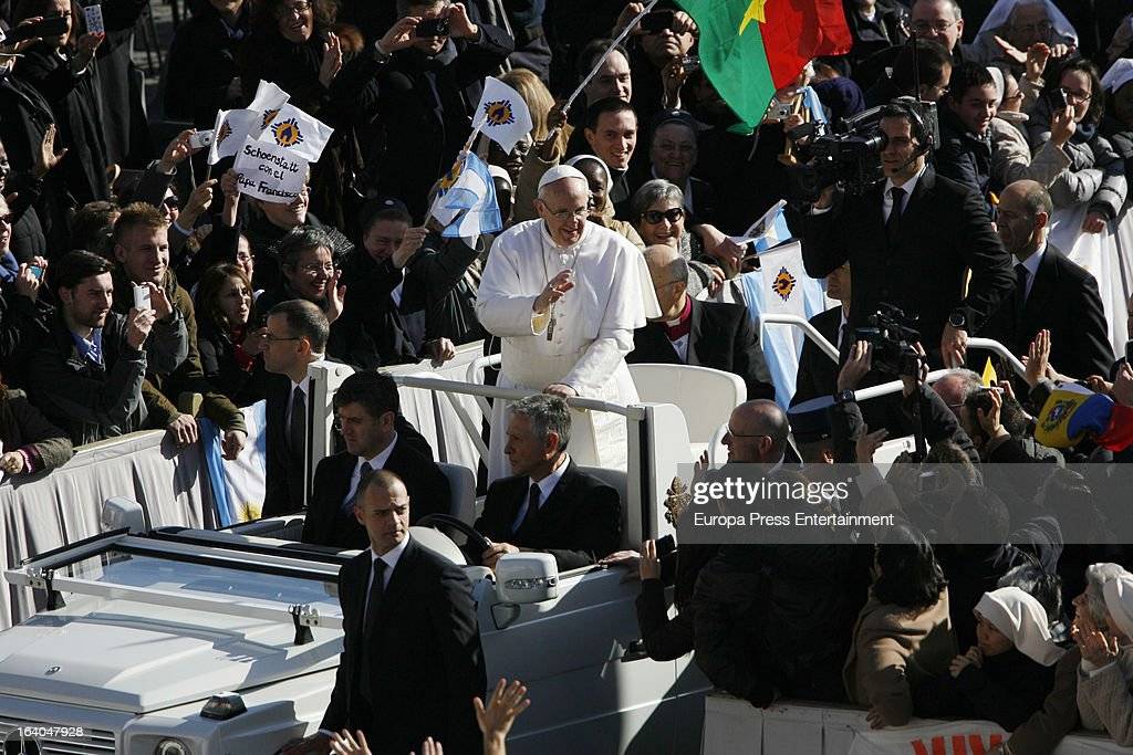 Pope Francis during his Inauguration Mass on March 19, 2013 in Vatican City, Vatican. The inauguration of Pope Francis is being held in front of an expected crowd of up to one million pilgrims and faithful who have crowded into St Peter's Square and the surrounding streets to see the former Cardinal of Buenos Aires officially take up his position. Pope Francis' inauguration takes place in front his cardinals, spiritual leaders as well as heads of states from around the world and he will now lead an estimated 1.3 billion Catholics.