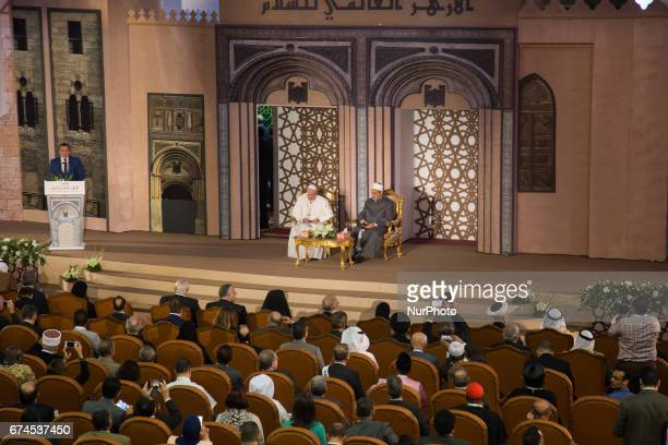 Pope Francis during meeting with Sheikh Ahmed alTayeb the Grand Imam of AlAzhar during a visit to the prestigious Sunni institution in Cairo on April...