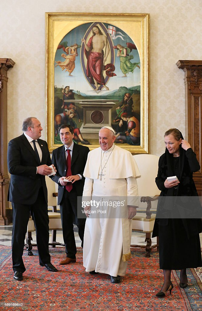 <a gi-track='captionPersonalityLinkClicked' href=/galleries/search?phrase=Pope+Francis&family=editorial&specificpeople=2499404 ng-click='$event.stopPropagation()'>Pope Francis</a> exchanges gifts with President of Georgia <a gi-track='captionPersonalityLinkClicked' href=/galleries/search?phrase=Giorgi+Margvelashvili&family=editorial&specificpeople=10916956 ng-click='$event.stopPropagation()'>Giorgi Margvelashvili</a> (L) and his wife Maka Chichua during a private audience at the Apostolic Palace on April 10, 2015 in Vatican City, Vatican. The Parties discussed the tensions that affect the region and, with emphasis on the importance of full respect for international law, the hope was expressed that every solution may be sought through peaceful negotiation between the interested Parties.
