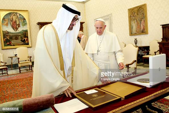 Pope Francis exchanges gifts with Sheikh Mohamed bin Zayed Al Nahyan Crown Prince of Abu Dhabi and Deputy Supreme Commander of the UAE Armed Forces...