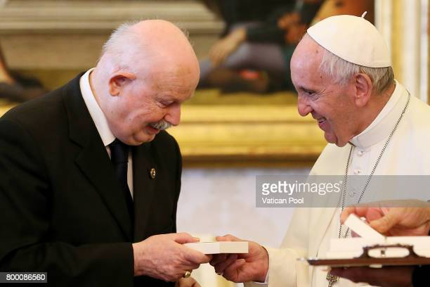 Pope Francis exchanges gifts with the Lieutenant of Grand Master of The Sovereign Military Order Of Malta Fra Giacomo Dalla Torre del Tempio di...