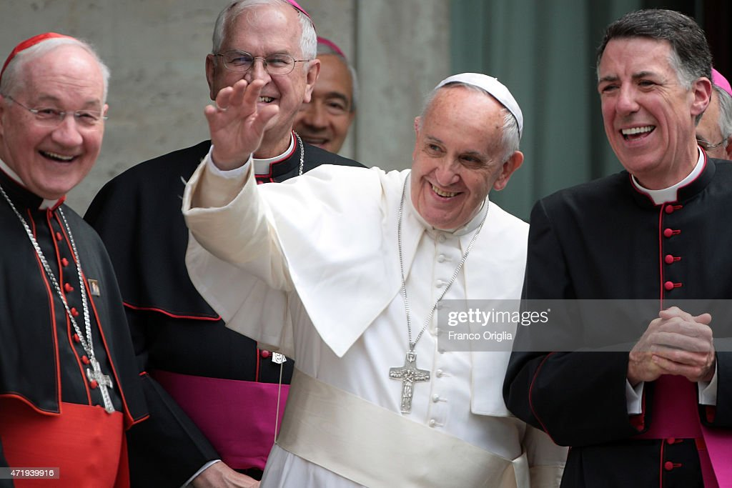 <a gi-track='captionPersonalityLinkClicked' href=/galleries/search?phrase=Pope+Francis&family=editorial&specificpeople=2499404 ng-click='$event.stopPropagation()'>Pope Francis</a> (C), flanked by Cardinal <a gi-track='captionPersonalityLinkClicked' href=/galleries/search?phrase=Marc+Ouellet&family=editorial&specificpeople=3145328 ng-click='$event.stopPropagation()'>Marc Ouellet</a>, Rector of the Pontifical North American College James F. Checchio and President of the United States Conference of Catholic Bishops Joseph Edward Kurtz, leaves the Pontifical North American College at the end of a conference on the canonization of Fra Junpero Serra in light of 'Ecclesia in America' on May 2, 2015 at the Pontifical North American College in Vatican City, Vatican. <a gi-track='captionPersonalityLinkClicked' href=/galleries/search?phrase=Pope+Francis&family=editorial&specificpeople=2499404 ng-click='$event.stopPropagation()'>Pope Francis</a> has announced he intends to canonize Blessed Junpero Serra during his visit to the United States in September.