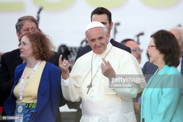 Pope Francis flanked by Evangelical leaders Patti Mansfield and Michelle Moran attends The Golden Jubilee of the Catholic Charismatic Reneval at the...