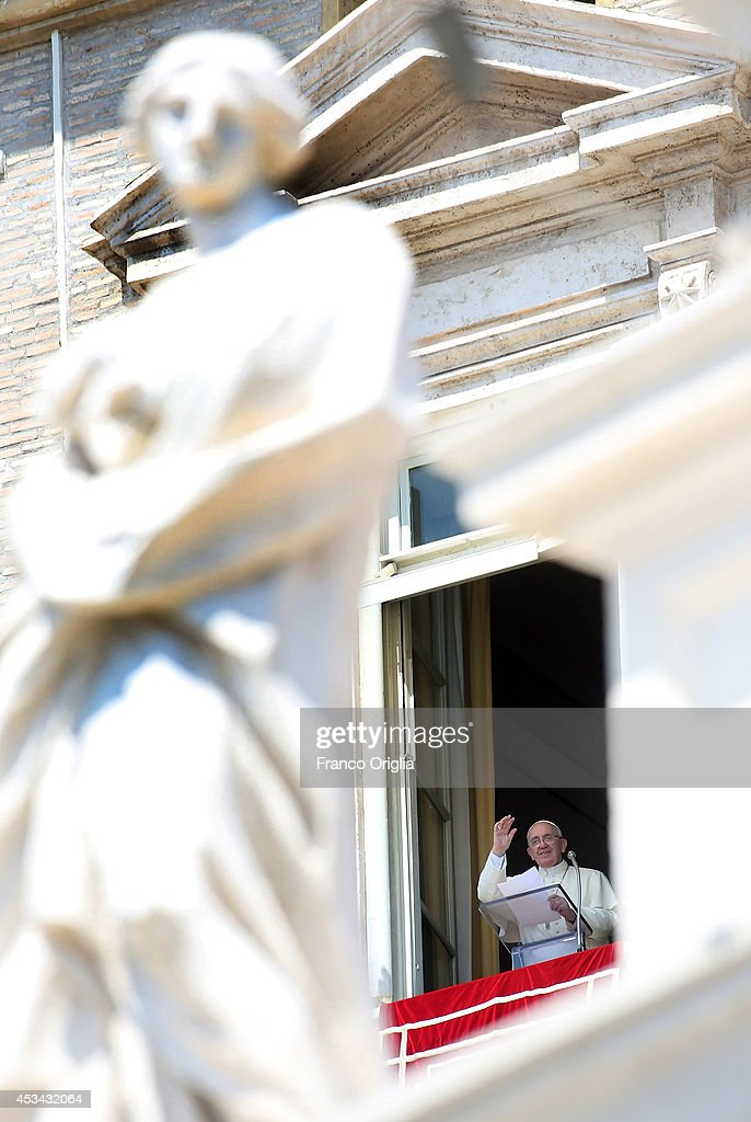 <a gi-track='captionPersonalityLinkClicked' href=/galleries/search?phrase=Pope+Francis&family=editorial&specificpeople=2499404 ng-click='$event.stopPropagation()'>Pope Francis</a>, framed by sculptures of St Peter's colonnade, delivers his Angelus blessing from the window of the former Papal apartments on August 10, 2014 in Vatican City, Vatican. <a gi-track='captionPersonalityLinkClicked' href=/galleries/search?phrase=Pope+Francis&family=editorial&specificpeople=2499404 ng-click='$event.stopPropagation()'>Pope Francis</a> renewed his call for prayer and assistance for those suffering in Iraq. He also prayed for an end to the fighting between Israeli forces and Hamas militants in Gaza, as well as for the victims of the Ebola virus. <a gi-track='captionPersonalityLinkClicked' href=/galleries/search?phrase=Pope+Francis&family=editorial&specificpeople=2499404 ng-click='$event.stopPropagation()'>Pope Francis</a> will visit South Korea from August 14 to August 18.