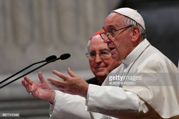 Pope Francis gestures as he delivers a speech during the opening of the Diocesan Pastoral Conference at the St John Lateran Basilica on June 19 2017...