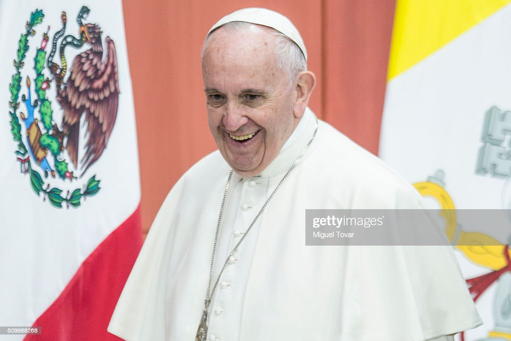 Pope Francis gestures during the welcome ceremony at Palacio Nacional on February 13, 2016 in Mexico City, Mexico. Pope Francis will be on a five days visit in Mexico from February 12 to 17 where he is expected to visit five states.