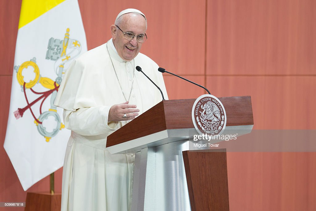 Pope Francis gives a speech during the welcome ceremony at Palacio Nacional on February 13, 2016 in Mexico City, Mexico. Pope Francis will be on a five days visit in Mexico from February 12 to 17 where he is expected to visit five states.