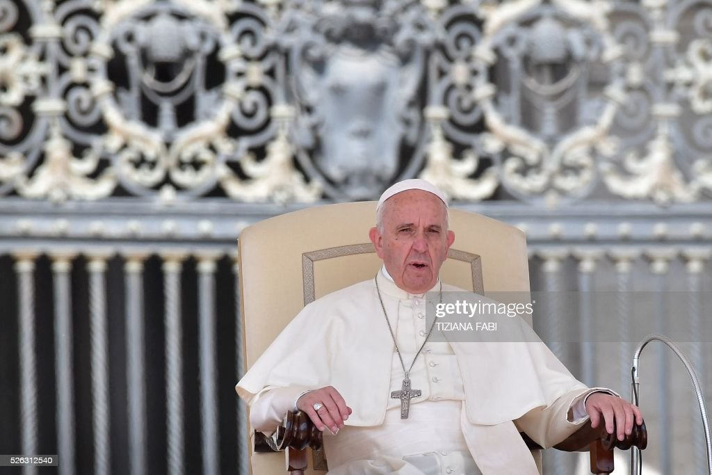 Pope Francis gives an audience as part of the Jubilee Year of Mercy on April 30, 2016 at St Peter's square in Vatican.