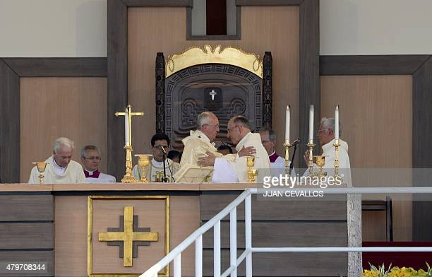 Pope Francis gives an openair mass at Samanes Park in Guayaquil Ecuador on July 6 2015 More than a million faithful some of whom travelled for hours...