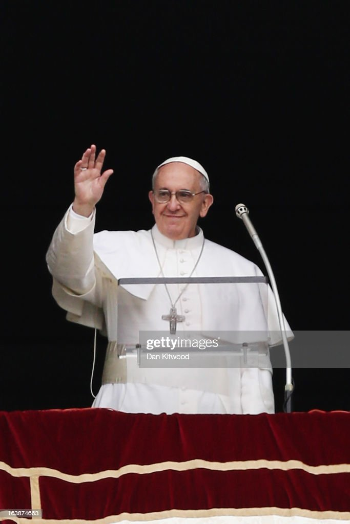 Pope Francis gives his first Angelus Blessing to the faithful from the window of his private residence on March 17, 2013 in Vatican City, Vatican. The Vatican is preparing for the inauguration of Pope Francis on March 19, 2013 in St Peter's Square.