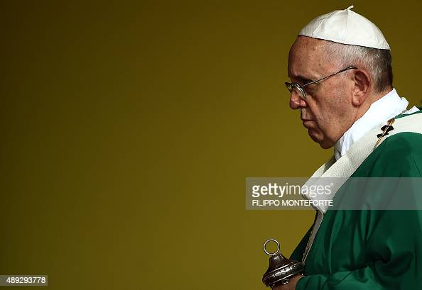 Pope Francis gives mass at Revolution Square in Havana on September 20 2015 Pope Francis greeted massive crowds of fans and Catholic faithful Sunday...