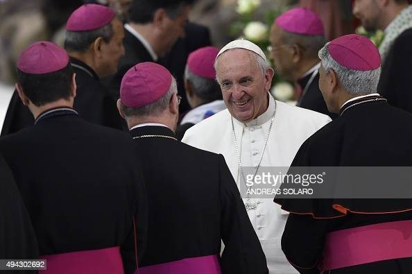 Pope Francis greets bishops at the end of an audience to the participants in the pilgrimage of Gypsies on October 26 2015 at Paul VI audience hall at...