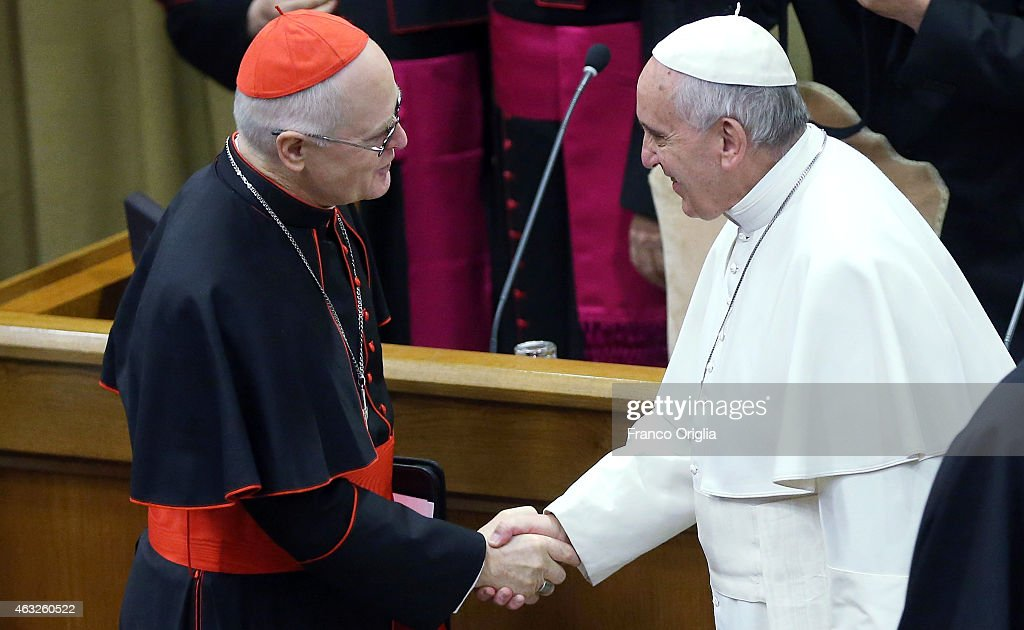 Pope Francis (R) greets Brasilian Cardinal and Sao Paulo archbishop Odilo Pedro Scherer before the opening session of the Extraordinary Consistory at the Synod Hall on February 12, 2015 in Vatican City, Vatican. Opening the working session Ð which included the 20 prelates who will be created Cardinals on Saturday Ð Pope Francis said that the end goal of the reform of the Roman Curia is to harmonize work among the Vatican offices, to achieve a more effective collaboration and promote collegiality.