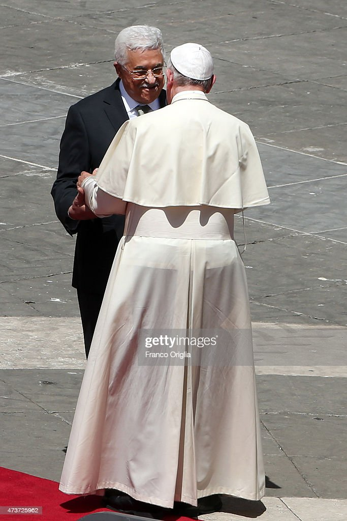 Pope Francis greets Palestinian President <a gi-track='captionPersonalityLinkClicked' href=/galleries/search?phrase=Mahmoud+Abbas&family=editorial&specificpeople=176534 ng-click='$event.stopPropagation()'>Mahmoud Abbas</a> as he leaves St. Peter's Square at the end of a canonisation ceremony on May 17, 2015 in Vatican City, Vatican. Pope Francis canonized four women religious on Sunday, all 19th century nuns who worked in education. St Marie-Alphonsine and St Mary of Jesus Crucified were from the territory that made up historical Palestine; St Jeanne Emilie de Villeneuve was a French nun and foundress; and St Maria Cristina of the Immaculate Conception.