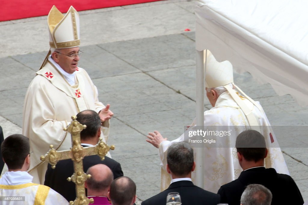 <a gi-track='captionPersonalityLinkClicked' href=/galleries/search?phrase=Pope+Francis&family=editorial&specificpeople=2499404 ng-click='$event.stopPropagation()'>Pope Francis</a> greets Pope Emeritus Benedict XVI at the end of the Canonization Mass in which John Paul II and John XXIII have been declared Saints on April 27, 2014 in Vatican City, Vatican. Dignitaries, heads of state and Royals from Europe and across the World are to attend the canonisations.