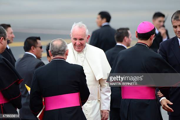 Pope Francis greets religious authorities at the airport in Quito before his departure for Bolivia on July 8 2015 Pope Francis the first Latin...