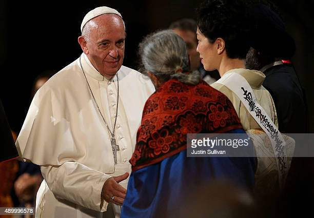 Pope Francis greets religious leaders during a multireligious prayer for peace at the 9/11 Memorial and Museum on September 25 2015 in New York City...