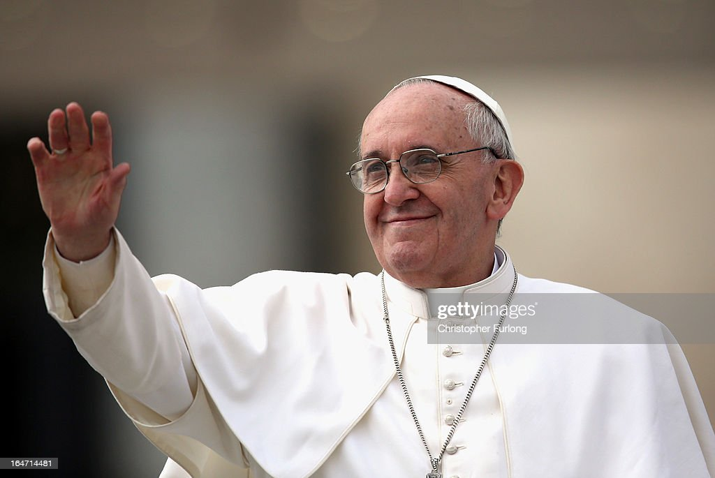 <a gi-track='captionPersonalityLinkClicked' href=/galleries/search?phrase=Pope+Francis&family=editorial&specificpeople=2499404 ng-click='$event.stopPropagation()'>Pope Francis</a> greets the crowd as he drives around St Peter's Square ahead of his first weekly general audience as pope on March 27, 2013 in Vatican City, Vatican. <a gi-track='captionPersonalityLinkClicked' href=/galleries/search?phrase=Pope+Francis&family=editorial&specificpeople=2499404 ng-click='$event.stopPropagation()'>Pope Francis</a> held his weekly general audience in St Peter's Square today