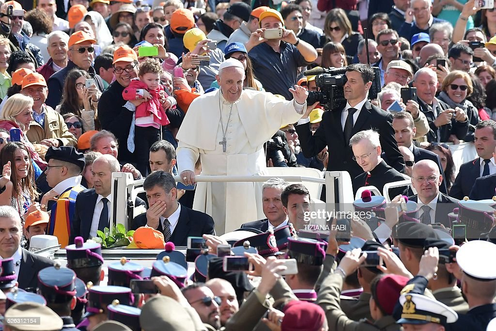 Pope Francis greets the crowd during an audience as part of the Jubilee Year of Mercy on April 30, 2016 at St Peter's square in Vatican.